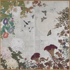 「花様今生・月白に戯る」(180×180)
